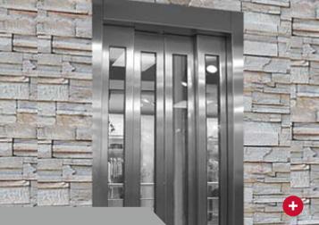 puerta apertura central 4 hojas acero y vidrio